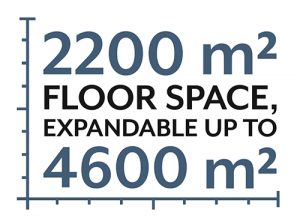 2200 square meters floor space expandable up to 4600 square meters