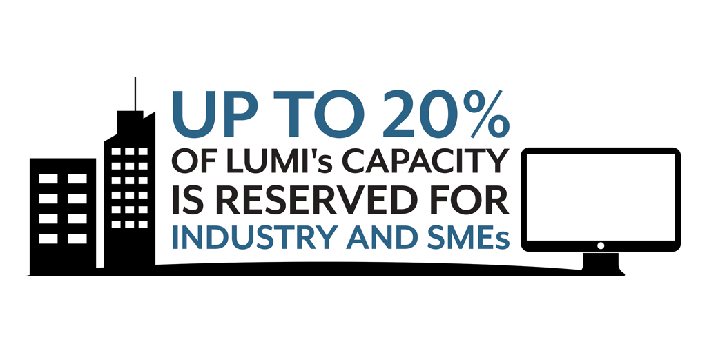 up to 20% of LUMI's capacity is reserved for industry and smes